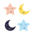 cute star and moon icon vector image