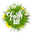 Earth Day Lettering poster with title Green globe vector image