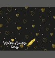 elegant card valentines day with golden drawing vector image