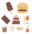 fast food set icons in cartoon style big vector image vector image