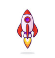 flying rocket space ship with flame from turbine vector image vector image