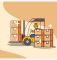 forklift truck with man driving loading cardboard vector image