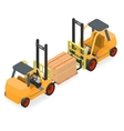 Forklifts elevate the pallet with cardboard boxes vector image vector image