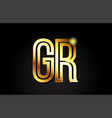gold alphabet letter gr g r logo combination icon vector image vector image