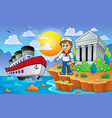 greek coast with ship and sailor vector image