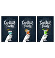 green blue and red cocktail with slice pineapple vector image vector image