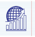 growing graph with earth navy line icon vector image vector image