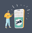 guy looking for job telephone vector image
