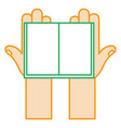 hands reader with text book vector image vector image