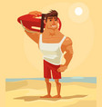happy smiling sea lifeguard man character mascot vector image