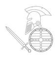 helmet sword and shiel vector image vector image