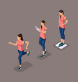 isometric athlete young girl healthy lifestyle vector image vector image