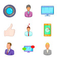 job interview icons set cartoon style vector image vector image