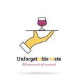 linear logo - unforgettable taste vector image