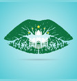 macau flag lipstick on the lips isolated on a vector image vector image