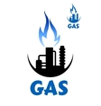 Natural gas factory complex with blue flame vector image vector image