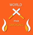 no smoking sign crossed burning cigarette vector image vector image