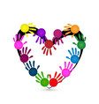painted hands creating a heart icon vector image vector image