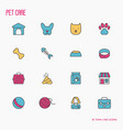 pet care thin line icons set vector image