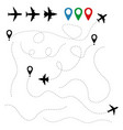 plane traces and routes isolated on white vector image