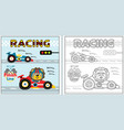 racing cartoon with funny racer coloring page or vector image