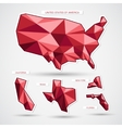 Red geographic business map isolated on white vector image