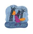 sad cartoon fox walking in the rain vector image vector image