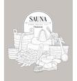 Sauna Set Vintage Sketch vector image