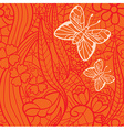 Seamless lacy pattern with flowers and butterflies vector image vector image