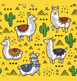 seamless pattern llamas cactuses and geometric vector image