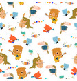 seamless pattern with cute animals playing vector image