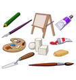 set of art accessories and materials