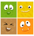 set of cartoon monster faces vector image