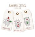 Set of funny bears gift tags on textured backgroun vector image vector image
