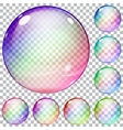 Set of multicolored transparent glass spheres vector image vector image