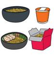 set of noodle vector image