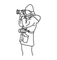 side view photographer taking photo in winter vector image