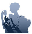 silhouette woman singer and woman playing the vector image vector image