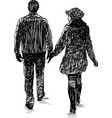 sketch a pair townspeople on a stroll vector image vector image