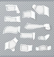 torn paper curls realistic transparent vector image vector image