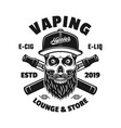 vaping emblem with bearded skull in cap vector image vector image