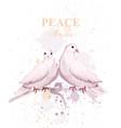 watercolor doves birds peace card delicate vector image