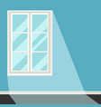 white plastic window on blue wall vector image vector image