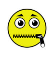 zipped mouth emoticon vector image