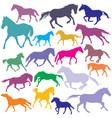 big set colorful trotting and galloping horses vector image