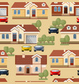 seamless pattern of cars trees and houses vector image