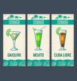 alcohol cocktail set daiquiri mojito cuba libre vector image