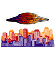 alien invasion ufo destroys city vector image