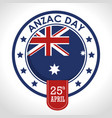 anzac day 25th april logo vector image