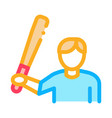 baseball player icon outline vector image